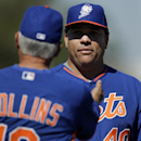 New York Mets manager Terry Collins, left, talks with pitcher Bartolo Colon during spring training baseball practice, Monday, Feb. 17, 2014, in Port St. Lucie, Fla The Associated Press