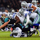 Jacksonville Jaguars running back Toby Gerhart (21) is tackled by the Dallas Cowboys during the second half of an NFL football game at Wembley Stadium, London, Sunday, Nov. 9, 2014 The Associated Press
