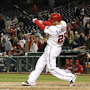 Washington Nationals' Adam LaRoche swings on a single that drove in the winning run in the ninth inning of a baseball game against the Los Angeles Angels, Wednesday, April 23, 2014 in Washington. The Nationals won 5-4 The Associated Press