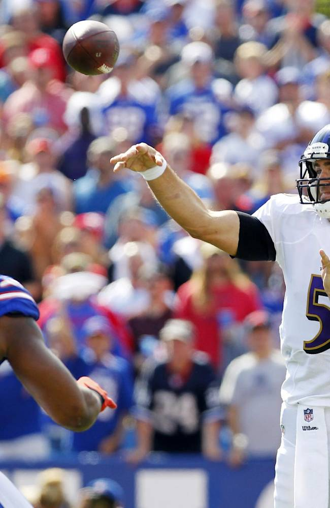 Baltimore Ravens quarterback Joe Flacco (5) passes under pressure from Buffalo Bills defensive end Mario Williams (94) during the first half of an NFL football game on Sunday, Sept. 29, 2013, in Orchard Park, N.Y