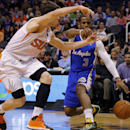 Los Angeles Clippers' Chris Paul (3) drives against Phoenix Suns Goran Dragic, of Slovenia, during the first half of an NBA basketball game, Tuesday, March 4, 2014, in Phoenix The Associated Press