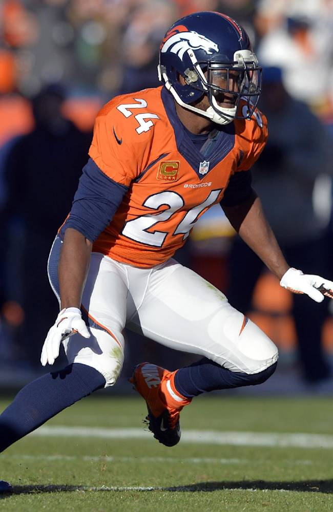 In this Jan. 12, 2014, file photo, Denver Broncos cornerback Champ Bailey (24) breaks off the line-of-scrimmage during the first quarter of an NFL AFC divisional playoff football game against the San Diego Chargers in Denver.  The veteran cornerback, one of the best to play the game, is still seeking the missing piece on the resume, a trip to the Super Bowl. He'll get it if the Broncos beat the Patriots on Sunday in the AFC championship game
