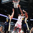 ATLANTA, GA - NOVEMBER 12: Paul Millsap #4 of the Atlanta Hawks puts up a shot against the Utah Jazz on November 12, 2014 at Philips Arena in Atlanta, Georgia. (Photo by Scott Cunningham/NBAE via Getty Images)