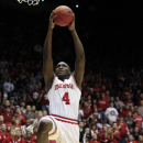Indiana guard Victor Oladipo (4) in action against Temple in a third-round game of the NCAA college basketball tournament, Sunday, March 24, 2013, in Dayton, Ohio. (AP Photo/Skip Peterson)
