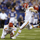In this Jan. 4, 2014, file photo, Kansas City Chiefs' Ryan Succop (6) kicks 42-yard field goal against the Indianapolis Colts during the second half of an NFL wild-card playoff football game in Indianapolis. Veteran kicker Succop has agreed to a one-year