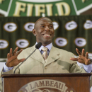Green Packers all time leading receiver, Donald Driver, smiles as he speaks during his retirement ceremony Wednesday, Feb. 6, 2013, at Lambeau Field in Green Bay, Wis. (AP Photo/Mike Roemer)
