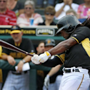 Pittsburgh Pirates' Andrew McCutchen singles off New York Yankees pitcher Ivan Nova during the first inning of an exhibition spring training baseball game at McKechnie Field in Bradenton, Fla., Wednesday, Feb. 26, 2014 The Associated Press