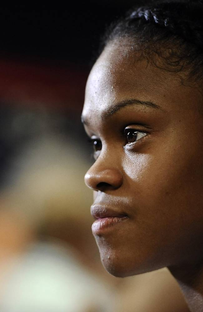 Connecticut's Moriah Jefferson listens to a question from a member of the media during their NCAA college basketball media day, Monday, Sept. 30, 2013, in Storrs, Conn