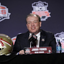 FILE - In this Jan. 6, 2014, file photo, Florida State head coach Jimbo Fisher answers a question during a news conference for the NCAA BCS National Championship college football game in Newport Beach, Calif. Fisher will addresses the media for the first time since Signing Day on Thursday, March 6. (AP Photo/Morry Gash, File)