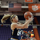 Notre Dame's Hannah Huffman grabs a rebound during the first half of an NCAA college basketball game against Clemson Saturday, Jan. 24, 2015, in Clemson, S.C. (AP Photo/Richard Shiro)