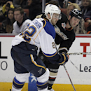 Anaheim Ducks left wing Dustin Penner, right, passes the puck around St. Louis Blues defenseman Kevin Shattenkirk during the second period of an NHL hockey game Friday, Feb. 28, 2014, in Anaheim, Calif The Associated Press