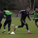 Chelsea s, from right, Ashley Cole, Fernando Torres, Willian and Juan Mata run during a training session at Cobham training ground in Cobham, England, Monday, Nov. 25, 2013. Chelsea will play Basel in the Champions League group E soccer match at St. Jakob