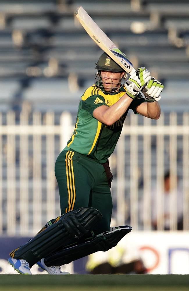 South Africa's AB de Villiers hits a six on his way to score a century during the fifth cricket one-day international match of a five match series between Pakistan and South Africa at Sharjah Cricket Stadium, in Sharjah, United Arab Emirates, Monday, Nov. 11, 2013