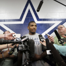 FILE - In this Sept. 3, 2014, file photo, Dallas Cowboys practice squad player defensive end Michael Sam speaks to reporters after team practice at the team's headquarters in Irving, Texas. The Cowboys have released Michael Sam from the practice squad, Tuesday, Oct. 21, 2014, another setback as the NFL's first openly gay player tries to make an active roster during the regular season for the first time. (AP Photo/LM Otero, File)