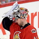 Ottawa Senators' Craig Anderson reacts after a goal by the the Columbus Blue Jackets during an NHL hockey game in Ottawa, Ontario, Sunday, Nov. 17, 2013 The Associated Press