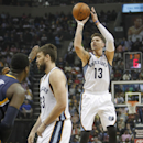 In this March 22, 2014 file photo, Memphis Grizzlies forward Mike Miller (13) takes a three-point shot with help from teammate Marc Gasol (33), of Spain, against the Indiana Pacers in the first half of an NBA basketball game in Memphis, Tenn. Miller turne