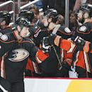 The Ducks' Tim Jackman is congratulated by the bench after his second period goal chased Calgary goaltender Joni Ortio at Honda Center Wednesday night Jan. 21, 2015 The Associated Press