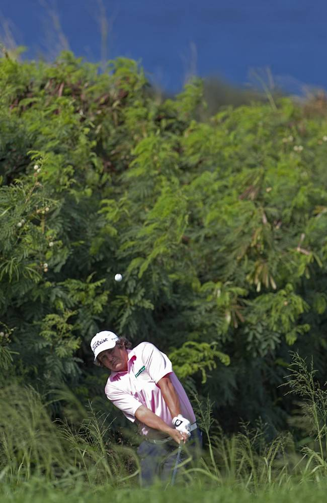 Jason Dufner hits out of the grass near the 14th green during the second round of the Tournament of Champions golf tournament, Saturday, Jan. 4, 2014, in Kapalua, Hawaii