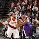 PORTLAND, OR -  JANUARY 19: LaMarcus Aldridge #12 of the Portland Trail Blazers looks to defend the basket against the Sacramento Kings during the game on January 19, 2015 at Moda Center in Portland, Oregon . (Photo by Cameron Browne/NBAE via Getty Images)