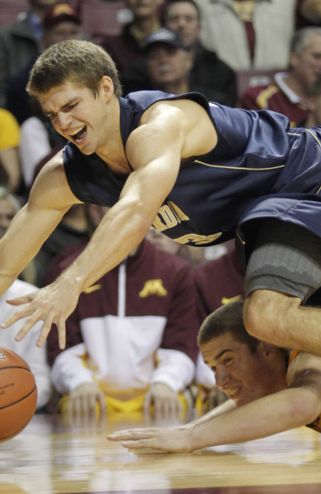 Concordia-St. Paul forward Chris Halvorsen, top, and Minnesota forward Joey King battle for a loose ball during the second half of an NCAA college exhibition basketball game, Monday, Nov. 4, 2013, in Minneapolis. Minnesota won 101-67