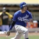 Kansas City Royals' Mike Moustakas grounds out on a pitch from Oakland Athletics' Hideki Okajima in the seventh inning of a baseball game Sunday, May 19, 2013, in Oakland, Calif. (AP Photo/Ben Margot)