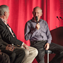 <p>Roger Chapman clearly enjoyed himself during the fireside chat in Benton Harbor, Mich.(Montana Pritchard/The PGA of America)</p>