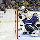 Boston Bruins right wing Reilly Smith (18) scores past Tampa Bay Lightning goalie Ben Bishop in a shoot out during an NHL hockey game Saturday, March 8, 2014, in Tampa, Fla. The Bruins won the game 4-3 The Associated Press