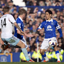 Everton's Steven Pienaar, right, keeps the ball from West Ham United's Matthew Taylor, left, during their English Premier League soccer match at Goodison Park Stadium, Liverpool, England, Saturday March 1, 2014