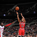 D.J. Augustin #14 of the Chicago Bulls shoots the ball against the Detroit Pistons during the game on March 5, 2014 at The Palace of Auburn Hills in Auburn Hills, Michigan. (Photo by D. Williams/Einstein/NBAE via Getty Images)
