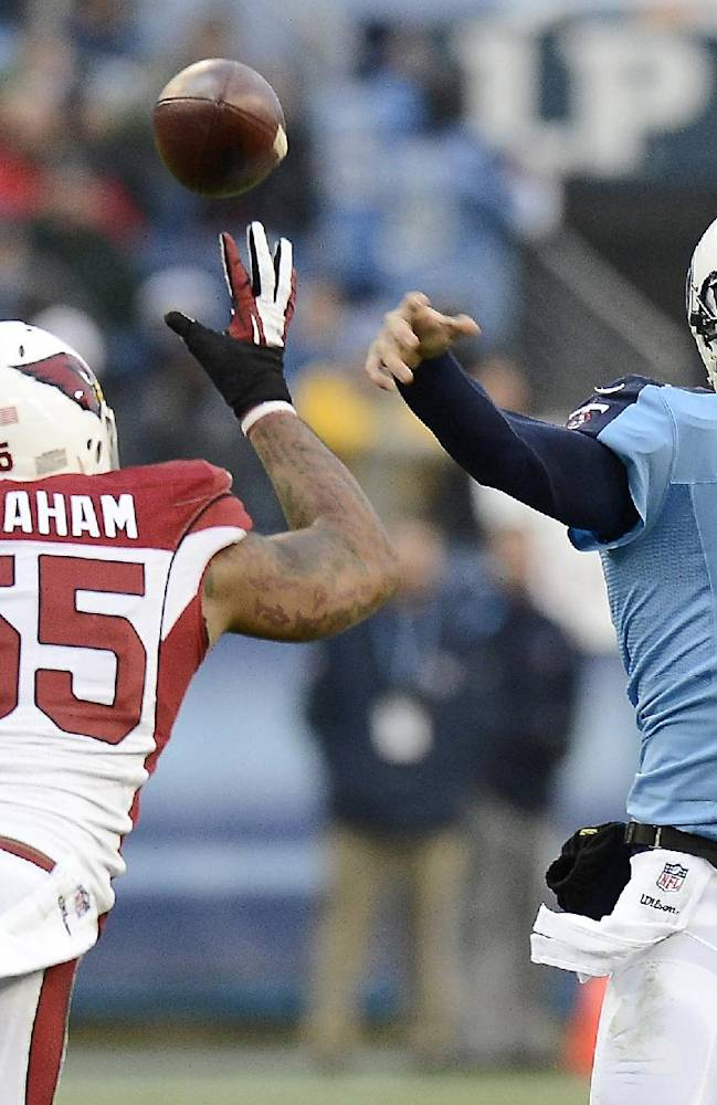 Tennessee Titans quarterback Ryan Fitzpatrick (4) passes under pressure from Arizona Cardinals outside linebacker John Abraham (55) in the first quarter of an NFL football game Sunday, Dec. 15, 2013, in Nashville, Tenn