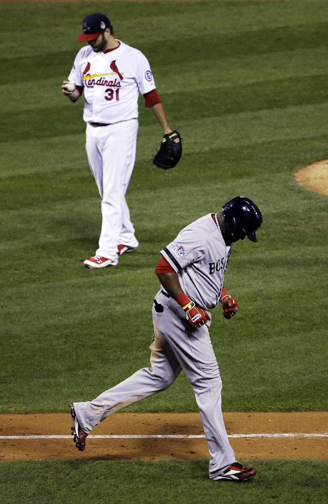 St. Louis Cardinals starting pitcher Lance Lynn looks down after walking Boston Red Sox's David Ortiz during the sixth inning of Game 4 of baseball's World Series Sunday, Oct. 27, 2013, in St. Louis