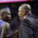 Los Angeles Clippers coach Doc Rivers, right, confers with Clippers guard Jamal Crawford during the second half of an NBA basketball game against the Portland Trail Blazers in Portland, Ore., Wednesday, April 16, 2014. Crawford scored 34 points as the Tr
