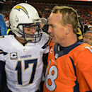In this Jan. 12, 2014, file photo, San Diego Chargers quarterback Philip Rivers, left, and Denver Broncos quarterback Peyton Manning greet each other at midfield after the Broncos beat the Chargers 24-17 in an NFL AFC division playoff football game in Den