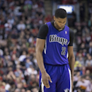 Sacramento Kings' Rudy Gay reacts during his team's 87-99 loss to Toronto Raptors in NBA basketball action in Toronto on Friday March 7, 2014 The Associated Press