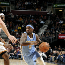 CLEVELAND, OH - NOVEMBER 17: Ty Lawson #3 of the Denver Nuggets drives against the Cleveland Cavaliers at The Quicken Loans Arena on November 17, 2014 in Cleveland, Ohio. (Photo by David Liam Kyle/NBAE via Getty Images)