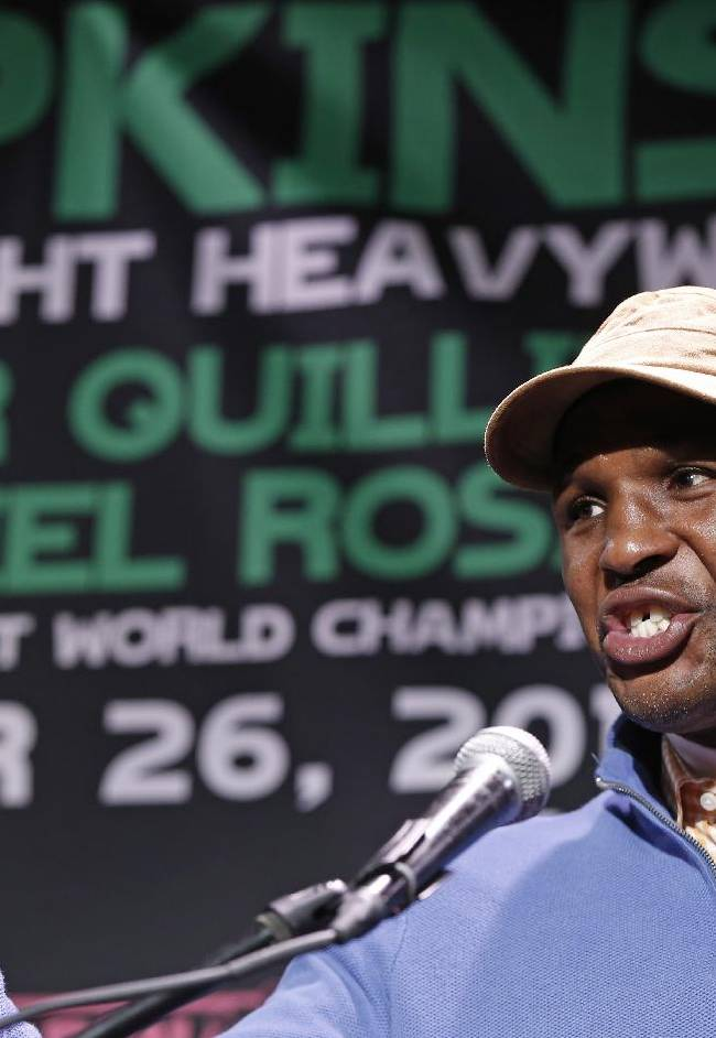 Bernard Hopkins speaks during a news conference, Wednesday, Oct. 23, 2013, in New York, in advance of his International Boxing Federation light heavyweight world championship title defense against challenger Karo Murat, Saturday, Oct. 26, in Atlantic City, N.J