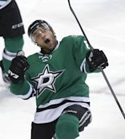 Dallas Stars Trevor Daley celebrates scoring a goal during the third period of an NHL Hockey game against the Ottawa Senators, Saturday, March 22, 2014, in Dallas. The Stars won 3-1. (AP Photo/LM Otero)