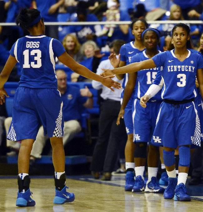 Kentucky guard Bria Goss (13) and guard Janee Thompson (3) congratulate each other after they defeated Middle Tennessee 84-72 in an NCAA college basketball game on Sunday, Nov. 24, 2013, in Murfreesboro, Tenn