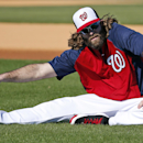 Washington Nationals right fielder Jayson Werth stretches before a spring training baseball workout, Thursday, Feb. 20, 2014, in VIera, Fla The Associated Press