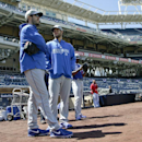 Los Angeles Dodgers starting pitcher Clayton Kershaw, right, who the Dodgers placed on the disabled list last week, talks fellow pitcher Dan Haren prior to a baseball game Tuesday, April 1, 2014, in San Diego The Associated Press