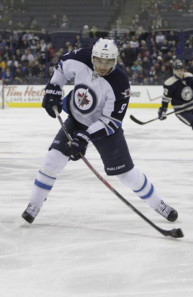 Winnipeg Jets' Evander Kane plays against the Columbus Blue Jackets during an NHL hockey game Monday, Dec. 16, 2013, in Columbus, Ohio