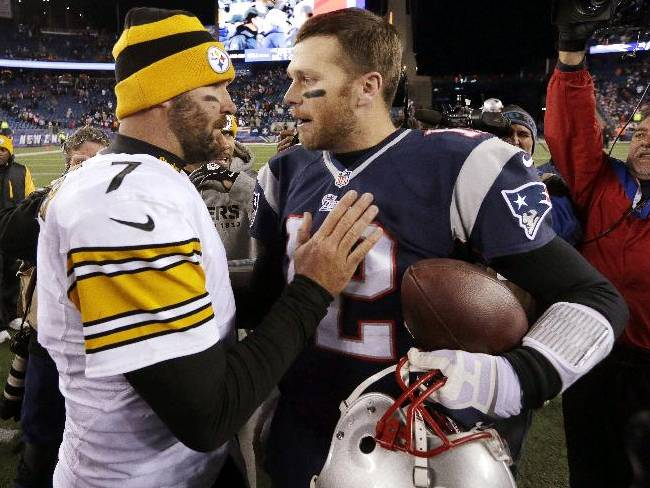 Pittsburgh Steelers quarterback Ben Roethlisberger, left, speaks to New England Patriots quarterback Tom Brady, right, after an NFL football game Sunday, Nov. 3, 2013, in Foxborough, Mass. The Patriots won 55-31