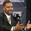FILE - In this Oct. 20, 2011 file photo, Missouri coach Frank Haith answers a question during the Big 12 basketball media day, in Kansas City, Mo. Haith left Miami in April to become the coach at Missouri and was replaced by Larranaga. Now an NCAA investigation at Miami could affect both new coaches. (AP Photo/Orlin Wagner, File)