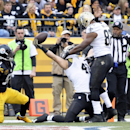 New Orleans Saints fullback Erik Lorig (41) celebrates with tight end Benjamin Watson (82) after making a touchdown catch in the second quarter of the NFL game, Sunday, Nov. 30, 2014, in Pittsburgh The Associated Press