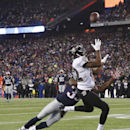 Baltimore Ravens wide receiver Torrey Smith (82) catches a pass in front of New England Patriots cornerback Brandon Browner (39) in the second half of an NFL divisional playoff football game Saturday, Jan. 10, 2015, in Foxborough, Mass The Associated Pres
