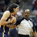 Indiana Pacers forward Luis Scola, left, argues with an official in the first half of Game 3 of an NBA basketball first-round playoff series against the Atlanta Hawks, Thursday, April 24, 2014, in Atlanta The Associated Press