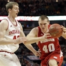 Wisconsin's Jared Berggren tries to drive past Indiana's Cody Zeller during the first half of an NCAA college basketball game at the Big Ten tournament Saturday, March 16, 2013, in Chicago. (AP Photo/Nam Y. Huh)