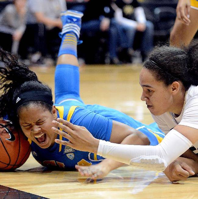 UCLA's Dominique Williams, left, tries to keep the ball away from Colorado's Jamee Swan during the first half of an NCAA college basketball game Friday, Feb. 28, 2014, in Boulder, Colo