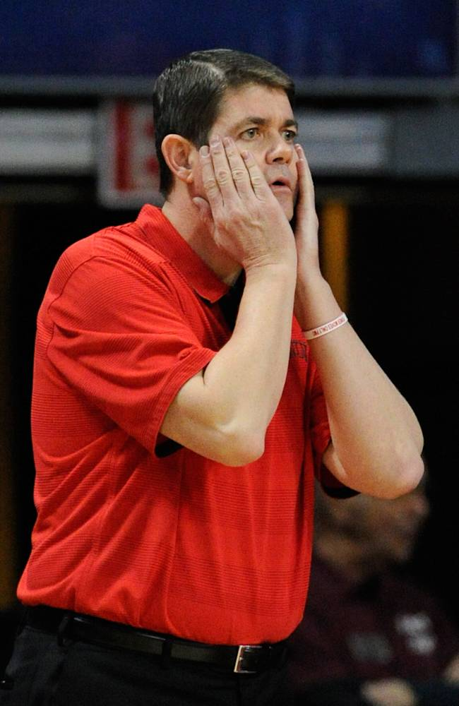 UNLV coach Dave Rice gestures during an NCAA college basketball game against Mississippi State on Monday, Dec. 23, 2013, in Las Vegas. UNLV won 82-66