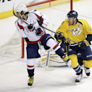 Nashville Predators defenseman Shea Weber (6) and Washington Capitals left wing Alex Ovechkin, left, of Russia, battle for the puck in the first period of an NHL hockey game Friday, Jan. 16, 2015, in Nashville, Tenn The Associated Press